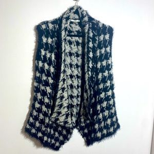 Black and White Fuzzy Houdstooth Vest